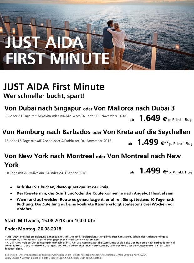 just aida first minute kw 33 - Aida Bewerbung